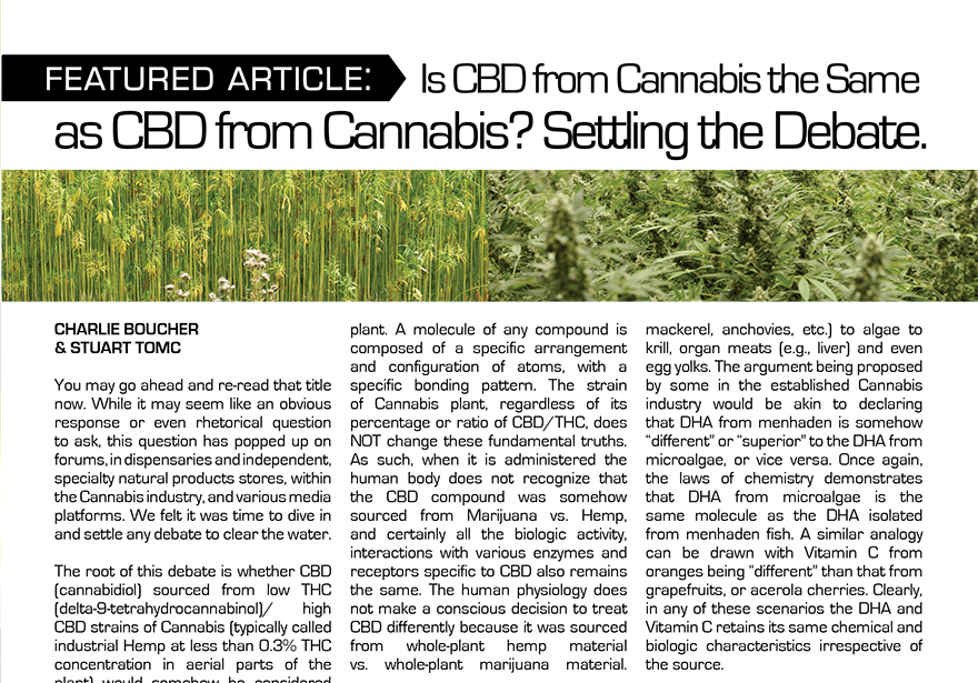 Featured Article: Is CBD from Cannabis the Same as CBD from Cannabis? Settling the Debate.
