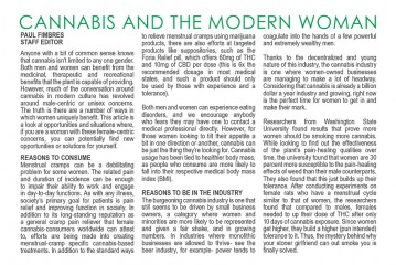 CANNABIS AND THE MODERN WOMAN