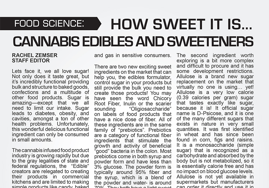 HOW SWEET IT IS…CANNABIS EDIBLES AND SWEETNERS
