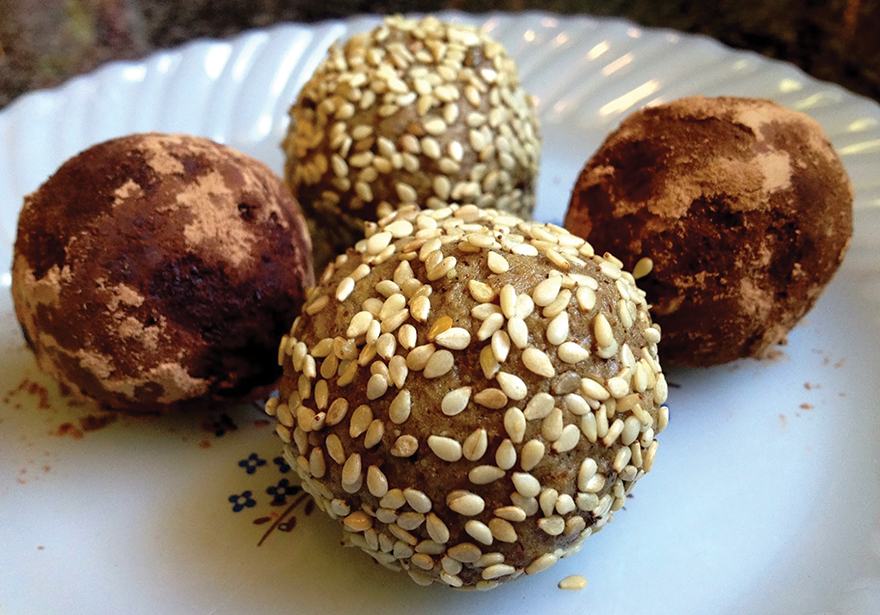tahini vanilla truffles