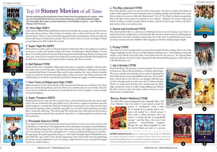 Edibles List Magazine Issue 26 Top 10 Stoner Movie of All Time