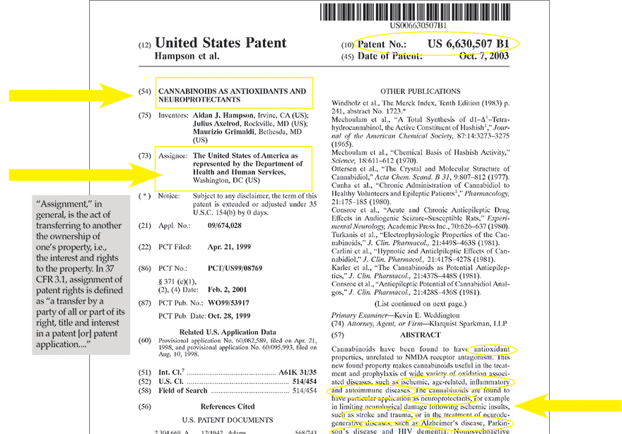 U.S. Patent No. 6,630,507: The Government Patent on CBD