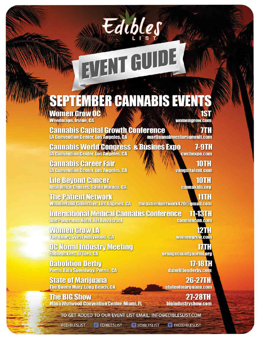 SEPTEMBER CANNABIS EVENT GUIDE EDIBLES LIST MAGAZINE
