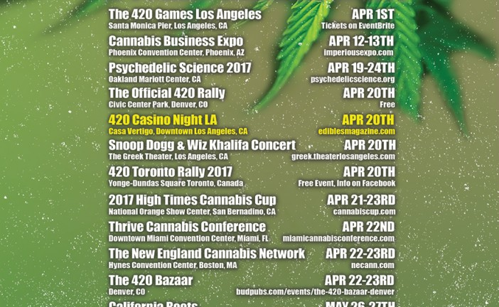 APRIL CANNABIS EVENT GUIDE- 420 EVENT LIST