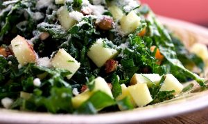 Kush Kale Salad With Apple Cashew Cheddar
