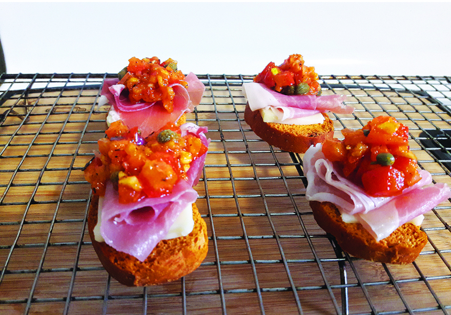 Edible's Magazine Recipe High Prosciutto on Tomato Basil Croutons