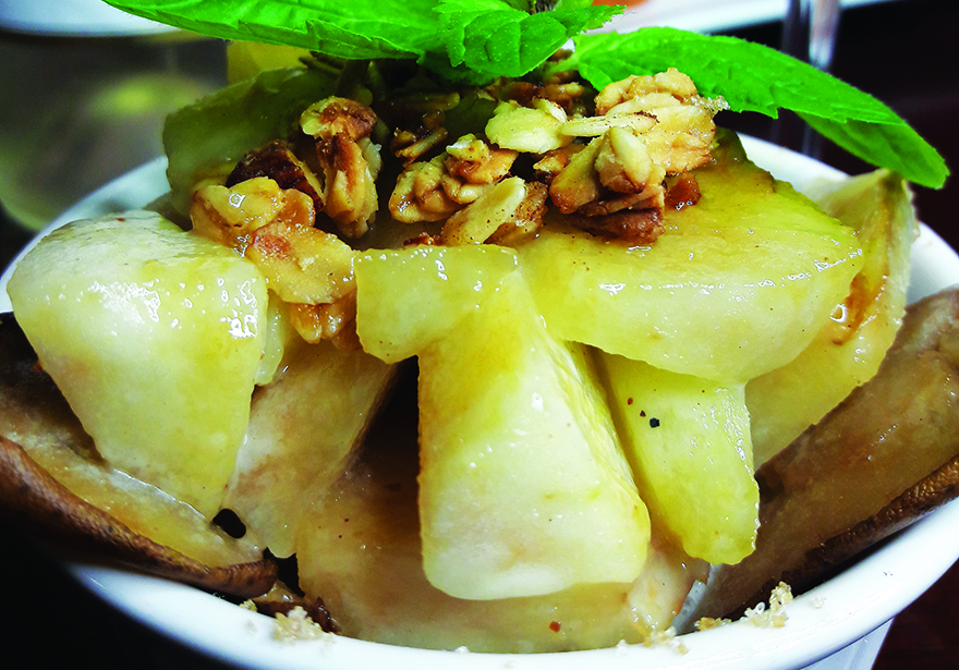 Edible's Magazine Recipe - Honey Granola Pears in Bourbon Butter Sauce