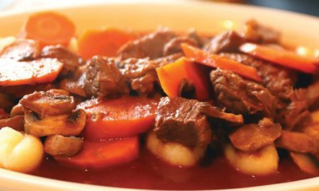 Pot Stocks and Stocked Pots - Cowboy Beef Stew with Mushrooms and Carrots