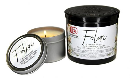 Foluri Topical Cannabis Infused Massage Candle - Edibles Magazine Editors Pick Featured Review Oklahoma