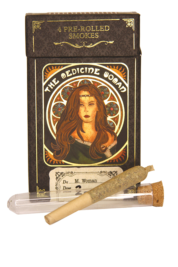 Edibles Magazine Reviews Medicine Woman Pre-roll 4-Pack packaging and pre-roll